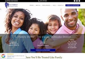 Dentist Web Design - Li Family Dental Website