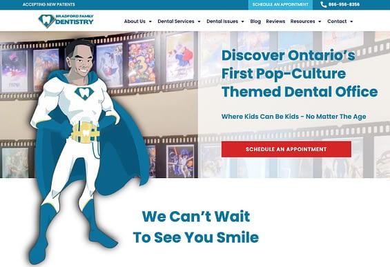 Dentist Web Design Samples - Bradford Family Dentistry